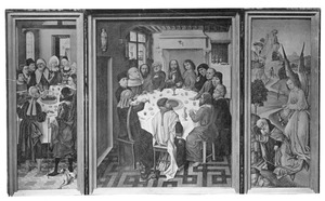 De viering van het joodse paasfeest (links), het Laatste Avondmaal (midden), Elia door de engel gelaafd en gespijzigd (I Koningen 19:5-6) (rechts)