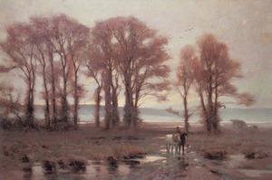 Landschap met bomen en paarden