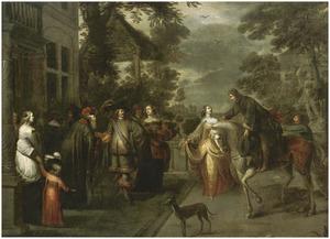 Een elegant gezelschap op het terras, met een paleis op de achtergrond
