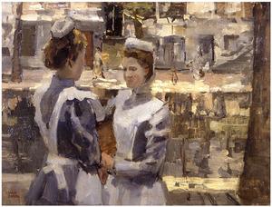 Twee dienstmeisjes op  een Amsterdamse gracht