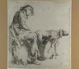 Zittende jongen met kruik en hond