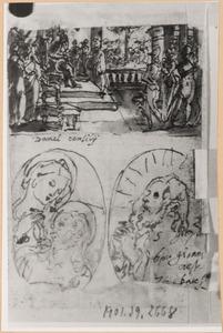Schetsboekblad met drie voorstellingen