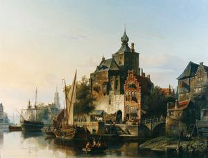 Stadsgezicht met schepen en figuren