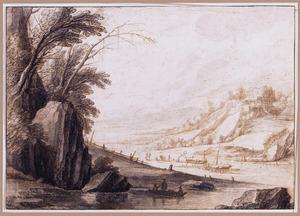 Bergachtig rivierlandschap met vissers en kasteelruïne