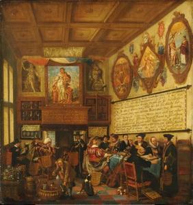 De rederijkerskamer 'Trou moet blijcken' in Haarlem, met voorstelling van verschillende godsdienstleraren