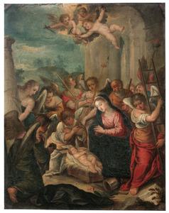 De aanbidding van het Christuskind door engelen met de Arma Christi