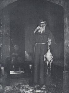 Een monnik met een geslachte kip in de hand
