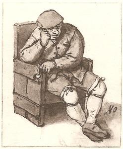 Boer zittend in een leunstoel met een pijp in de linkerhand