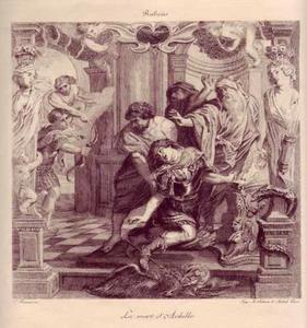Achilles wordt in zijn hiel dodelijk getroffen door Paris