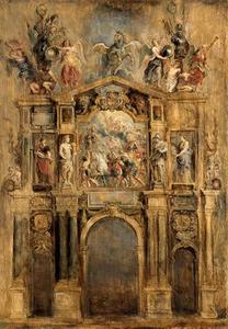 De achterzijde van de triomfboog van Ferdinand (Pompa Introitus Ferdinandi)