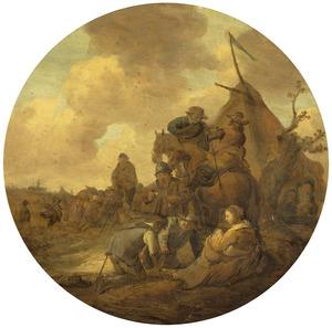 Legerkamp met dobbelende soldaten