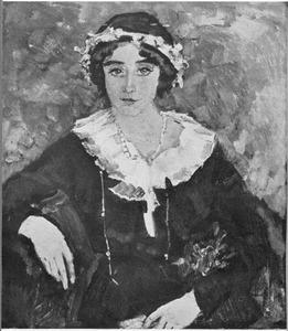 Jonge vrouw met witte kraag en bloemenkrans in het haar