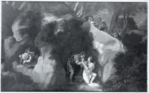 Dido en Aeneas als minnaars in de grot tijdens jacht