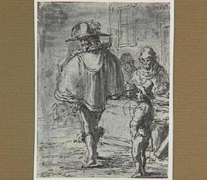 Lazarillo en zijn meester lopen langs een marktkraam (Lazarillo de Tormes dl. 1, cap. 11, p. 30)
