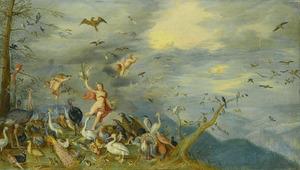 Allegorie van de lucht (een van de vier elementen): Aurora met velerlei vogels, in de lucht Helios met zijn zonnewagen