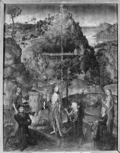 Christus verschijnt aan Maria Magdalena (Noli me tangere) geflankeerd door de HH. Johannes de Doper en Margaretha met een sticherspaar
