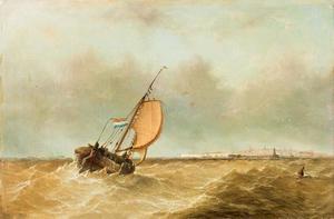 Gereefd schip op onrustige zee; een stad in de achtergrond