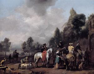Halthoudende jagers in een park bij de poort van een landhuis
