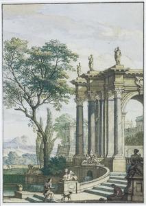 Landschap met bouwwerken en fontein met beelden