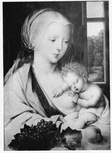 Maria met het kind slapend op de borst
