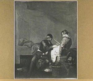Interieur met twee figuren