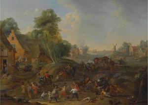 Landschap met ruitergevecht en aanval op een dorp
