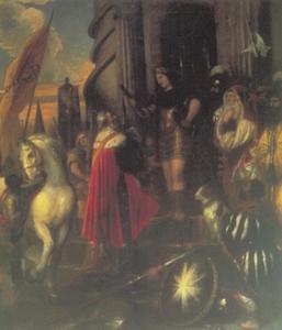 Quintus Fabius Maximus stijgt van zijn paard op bevel van zijn zoon (Livius XXIV, 44,9 en Val.Max.II,2,4)