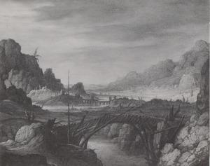 Bergachtig rivierlandschap met houten brug