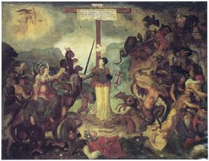 Allegorie van de Strijdende Kerk, omringd door de Ondeugden