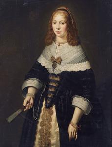 Portret van een jonge vrouw met een kanten kraag en een waaier