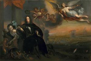 Verheerlijking van Cornelis de Witt met op de achtergrond de tocht naar Chatham (1667)