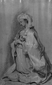 Knielende vrouw met een tulband