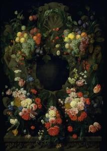 Krans van bloemen en vruchten rond een nis