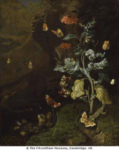 Stilleven van bloemen, met vlinders en een hagedis, in een dal