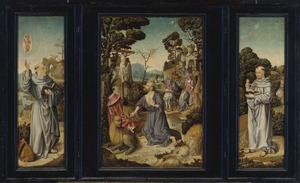 De H. Bernardus van Clairvaux (links), de boetvaardige H. Hiëronymus in de wildernis (midden), de H. Antonius van Padua (rechts)