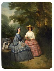 Portret van twee vrouwen in een parkachtige omgeving