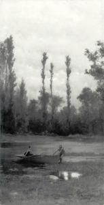 Man en vrouw in een roeiboot