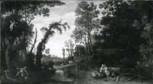 Boslandschap met een allegorie van de liefde voor de jeugdigen