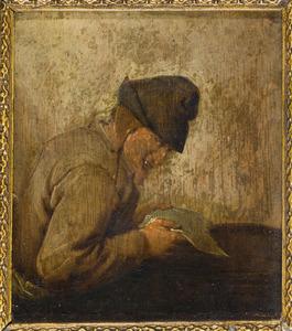Man die een brief leest; allegorie op het gezicht