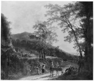 Zuidelijk landschap met herders, boeren en ezelrijders