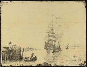 Hollands vlaggeschip voor anker bij een haven, met mannen in een roeiboot op de voorgrond