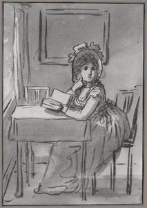 Een aan tafel gezeten dame in een interieur