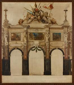 Triomfboog op de Meir tijdens Rubensfeesten in 1840