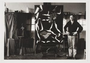 Hans van Hoek bij zijn schilderij in Neerkant