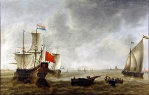 Hollandse schepen voor de kust, mogelijk bij Brielle