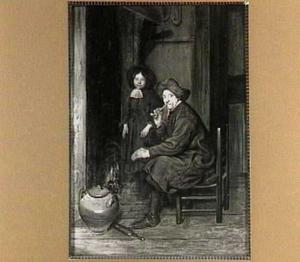 Oude man en jongen bij de haard