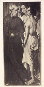 Retabel met het Laatste Oordeel uit de St-Albanskerk in Keulen: de H. Petrus begeleidt de uitverkorenen