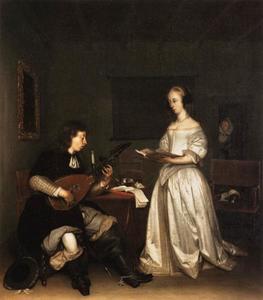 Interieur met een luitspelende mand en een zingende vrouw