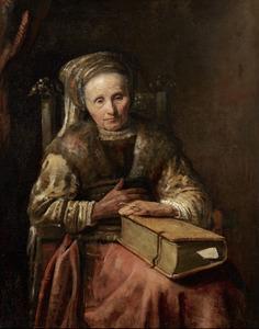 Oude vrouw met een boek
