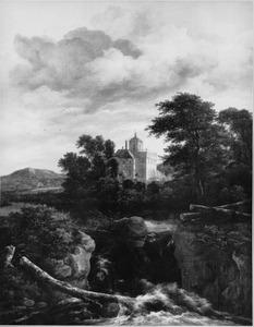Landschap met waterval en kasteel